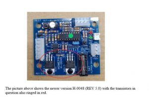 Newer H-0048 (REV 5.0) with circled transistors